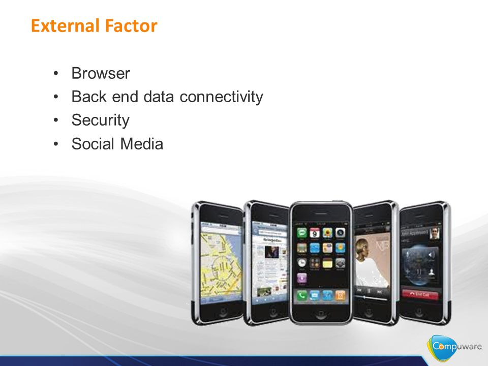 External Factor Browser Back end data connectivity Security Social Media