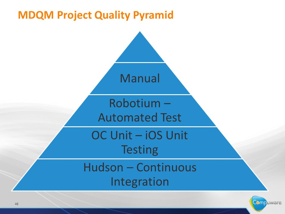 MDQM Project Quality Pyramid 46 Manual Robotium – Automated Test OC Unit – iOS Unit Testing Hudson – Continuous Integration