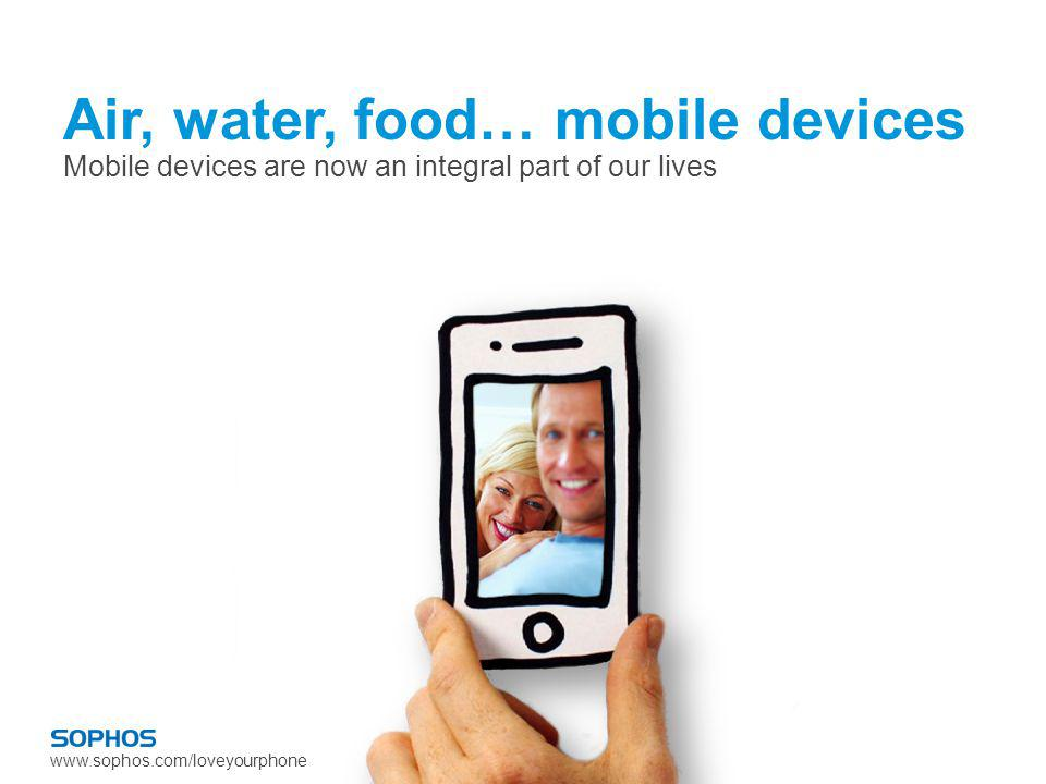 www.sophos.com/loveyourphone Air, water, food… mobile devices Mobile devices are now an integral part of our lives
