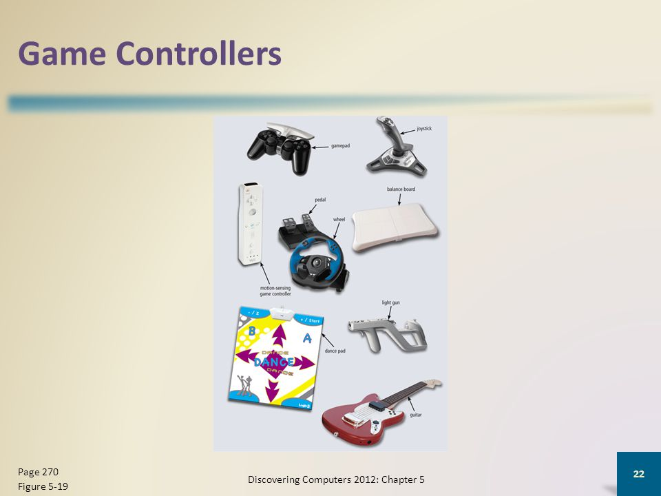 Game Controllers Discovering Computers 2012: Chapter 5 22 Page 270 Figure 5-19