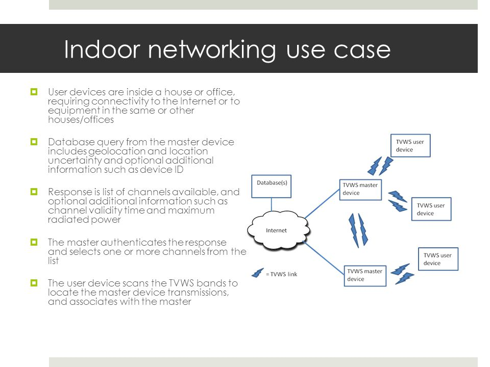 Indoor networking use case User devices are inside a house or office, requiring connectivity to the Internet or to equipment in the same or other houses/offices Database query from the master device includes geolocation and location uncertainty and optional additional information such as device ID Response is list of channels available, and optional additional information such as channel validity time and maximum radiated power The master authenticates the response and selects one or more channels from the list The user device scans the TVWS bands to locate the master device transmissions, and associates with the master