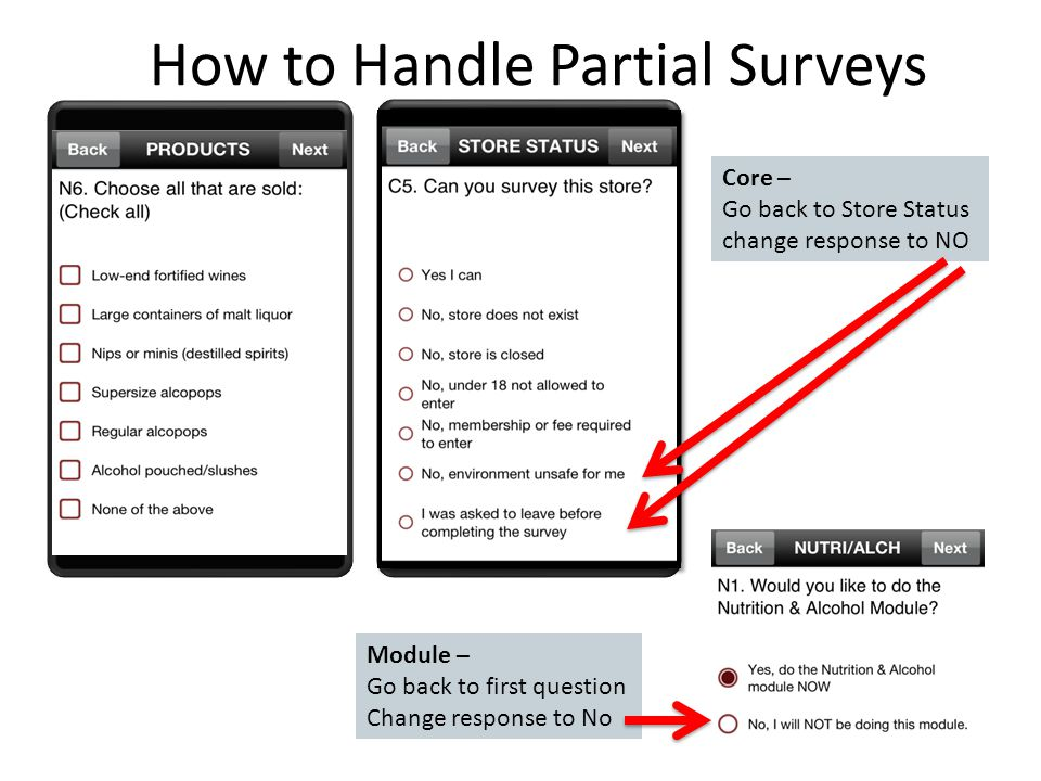 How to Handle Partial Surveys Core – Go back to Store Status change response to NO Module – Go back to first question Change response to No