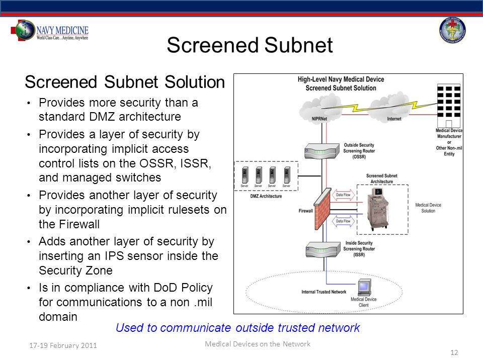 Screened Subnet 12 17-19 February 2011 Medical Devices on the Network Screened Subnet Solution Provides more security than a standard DMZ architecture Provides a layer of security by incorporating implicit access control lists on the OSSR, ISSR, and managed switches Provides another layer of security by incorporating implicit rulesets on the Firewall Adds another layer of security by inserting an IPS sensor inside the Security Zone Is in compliance with DoD Policy for communications to a non.mil domain Used to communicate outside trusted network