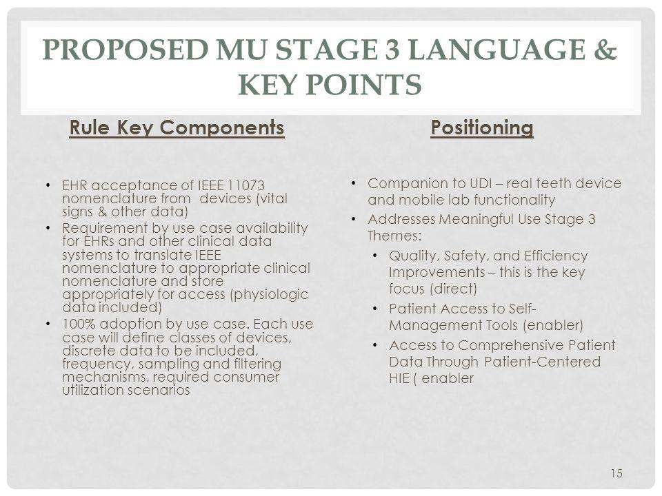 PROPOSED MU STAGE 3 LANGUAGE & KEY POINTS Rule Key Components EHR acceptance of IEEE nomenclature from devices (vital signs & other data) Requirement by use case availability for EHRs and other clinical data systems to translate IEEE nomenclature to appropriate clinical nomenclature and store appropriately for access (physiologic data included) 100% adoption by use case.