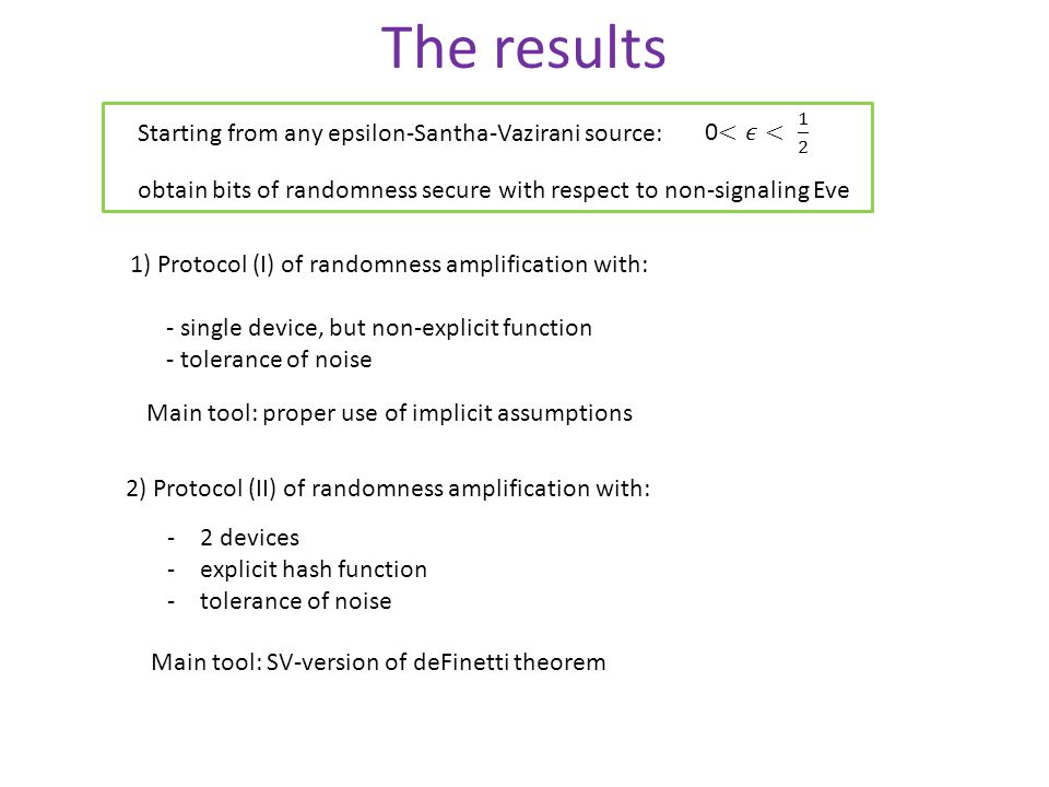 The results 2) Protocol (II) of randomness amplification with: -2 devices -explicit hash function -tolerance of noise 1) Protocol (I) of randomness amplification with: - single device, but non-explicit function - tolerance of noise Main tool: SV-version of deFinetti theorem Main tool: proper use of implicit assumptions Starting from any epsilon-Santha-Vazirani source: obtain bits of randomness secure with respect to non-signaling Eve