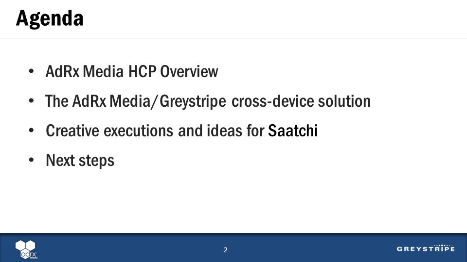 AdRx Media HCP Overview The AdRx Media/Greystripe cross-device solution Creative executions and ideas for Saatchi Next steps Agenda 2