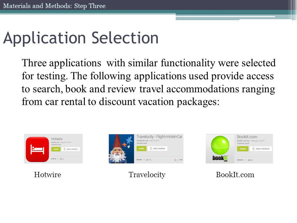 Application Selection Three applications with similar functionality were selected for testing.