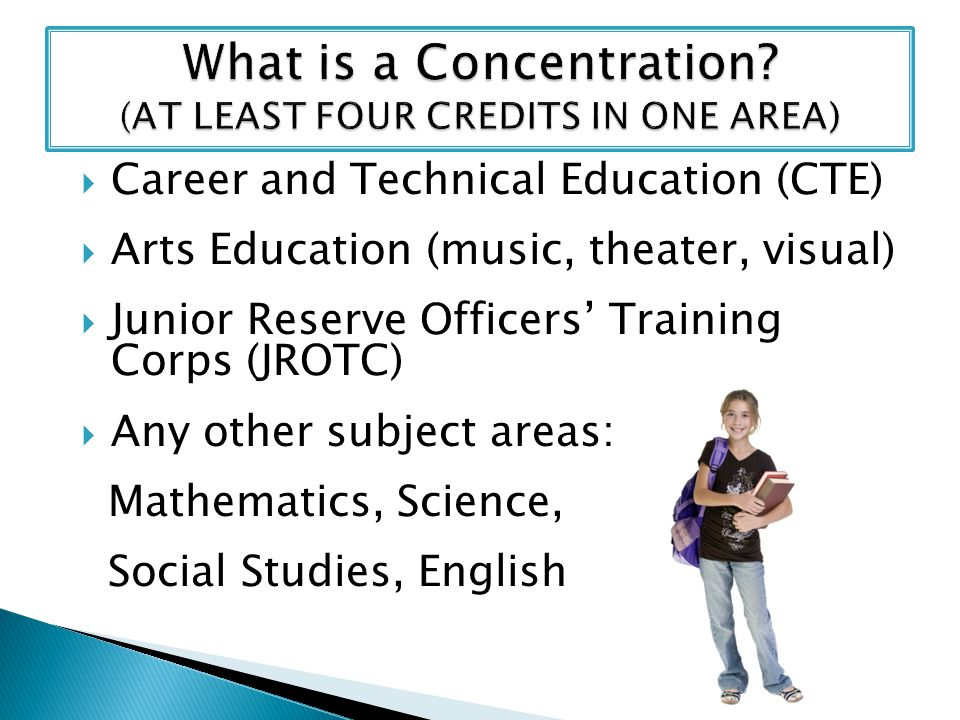 Career and Technical Education (CTE) Arts Education (music, theater, visual) Junior Reserve Officers Training Corps (JROTC) Any other subject areas: Mathematics, Science, Social Studies, English