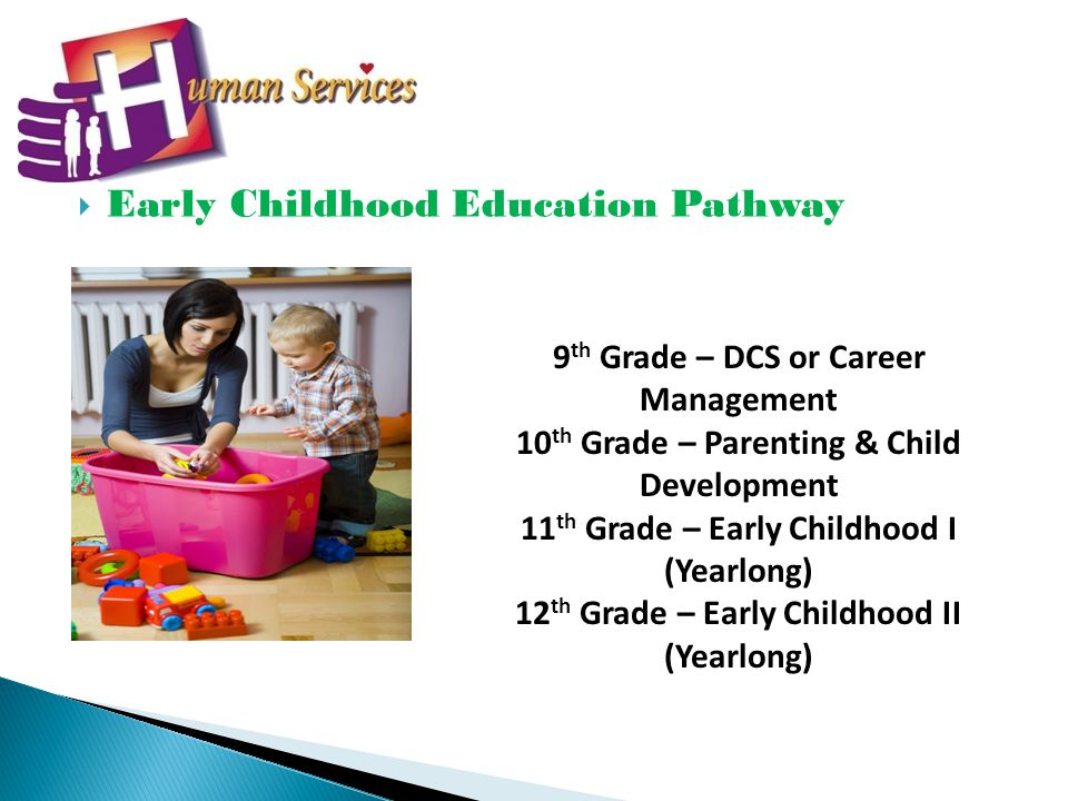 Early Childhood Education Pathway 9 th Grade – DCS or Career Management 10 th Grade – Parenting & Child Development 11 th Grade – Early Childhood I (Yearlong) 12 th Grade – Early Childhood II (Yearlong)