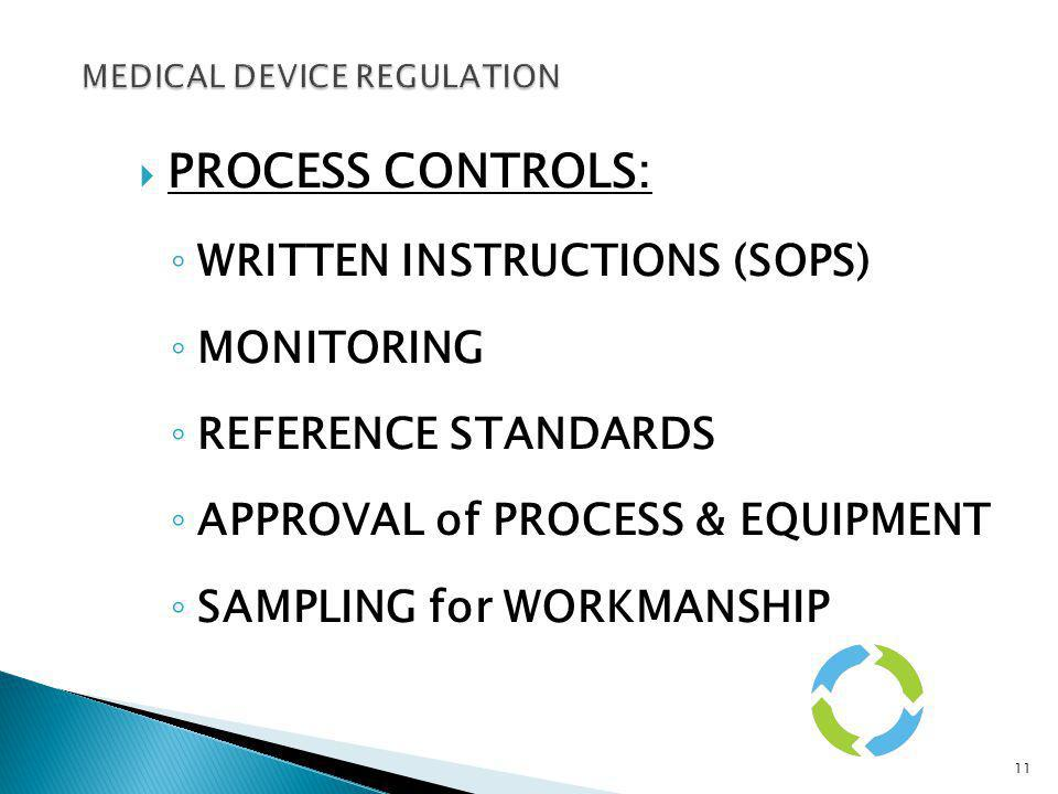 PROCESS CONTROLS: WRITTEN INSTRUCTIONS (SOPS) MONITORING REFERENCE STANDARDS APPROVAL of PROCESS & EQUIPMENT SAMPLING for WORKMANSHIP 11