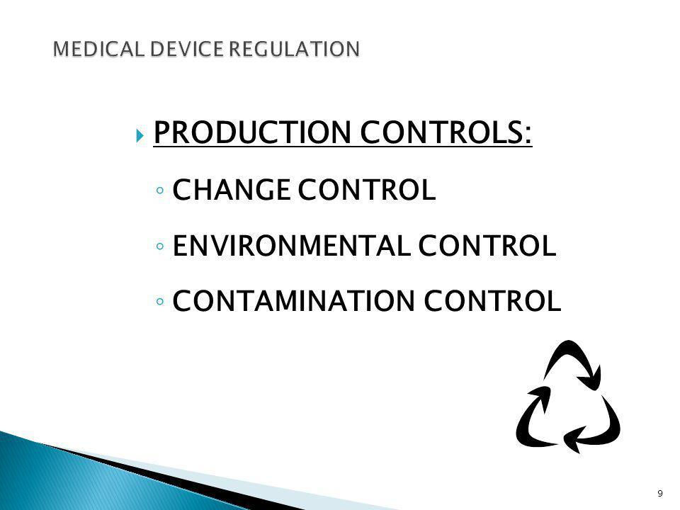 PRODUCTION CONTROLS: CHANGE CONTROL ENVIRONMENTAL CONTROL CONTAMINATION CONTROL 9
