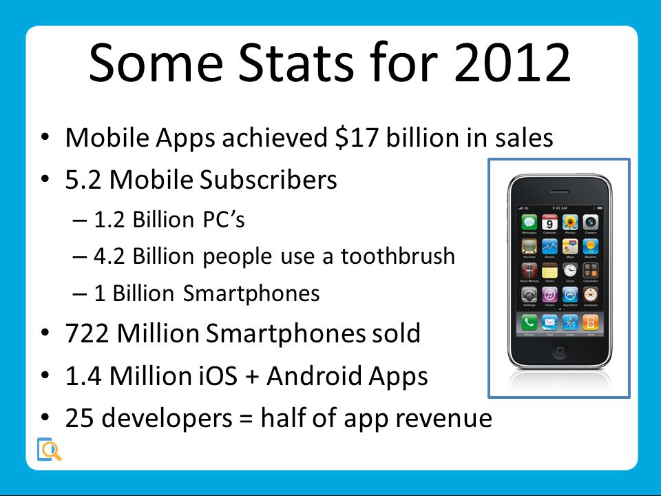 Some Stats for 2012 Mobile Apps achieved $17 billion in sales 5.2 Mobile Subscribers – 1.2 Billion PCs – 4.2 Billion people use a toothbrush – 1 Billion Smartphones 722 Million Smartphones sold 1.4 Million iOS + Android Apps 25 developers = half of app revenue