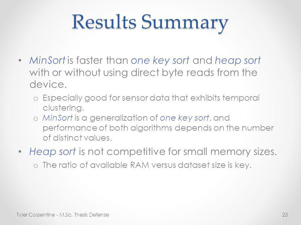 Results Summary MinSort is faster than one key sort and heap sort with or without using direct byte reads from the device.