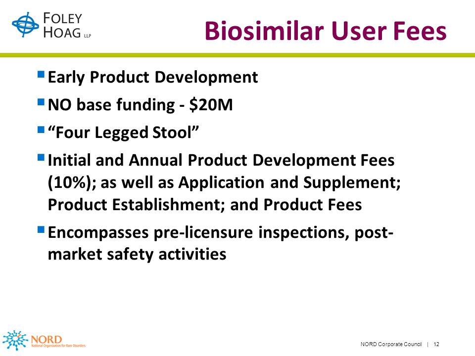 NORD Corporate Council | 12 Biosimilar User Fees Early Product Development NO base funding - $20M Four Legged Stool Initial and Annual Product Development Fees (10%); as well as Application and Supplement; Product Establishment; and Product Fees Encompasses pre-licensure inspections, post- market safety activities