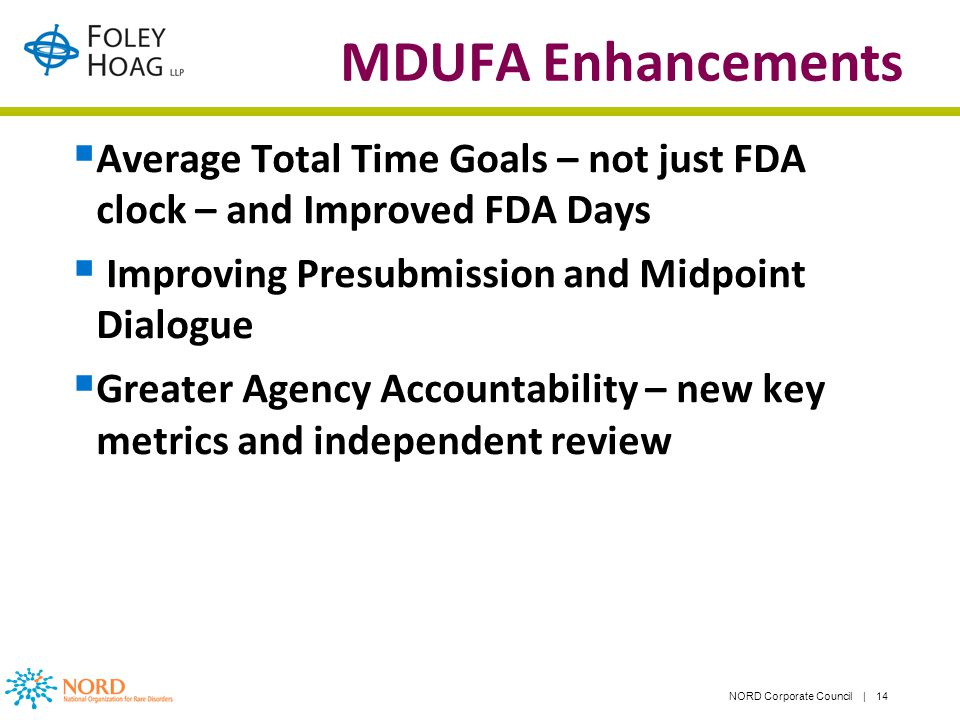NORD Corporate Council | 14 MDUFA Enhancements Average Total Time Goals – not just FDA clock – and Improved FDA Days Improving Presubmission and Midpoint Dialogue Greater Agency Accountability – new key metrics and independent review