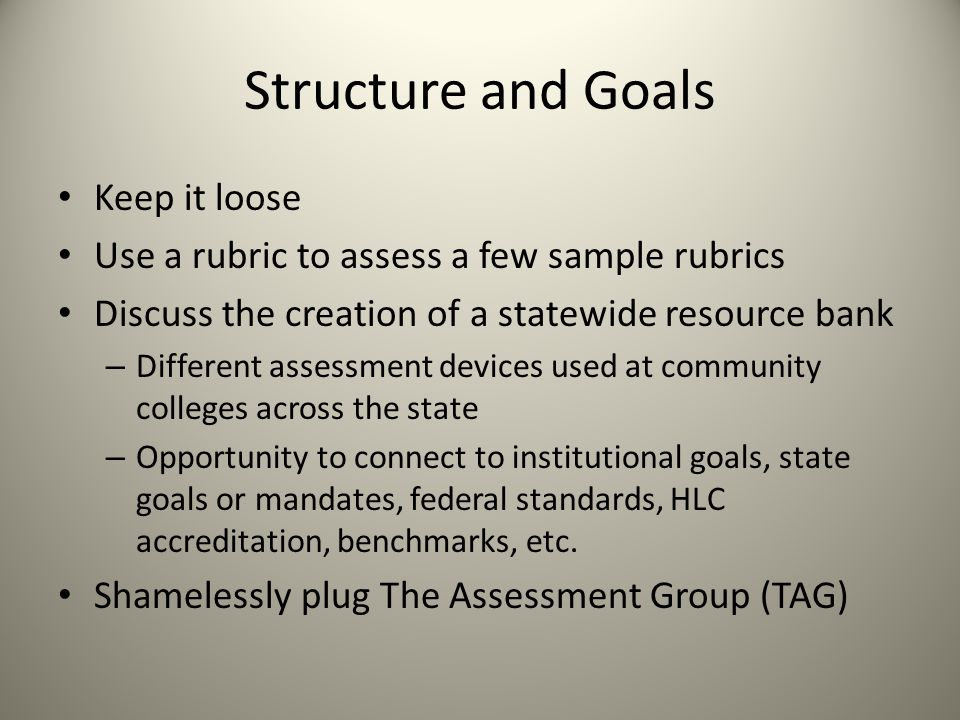 Structure and Goals Keep it loose Use a rubric to assess a few sample rubrics Discuss the creation of a statewide resource bank – Different assessment devices used at community colleges across the state – Opportunity to connect to institutional goals, state goals or mandates, federal standards, HLC accreditation, benchmarks, etc.
