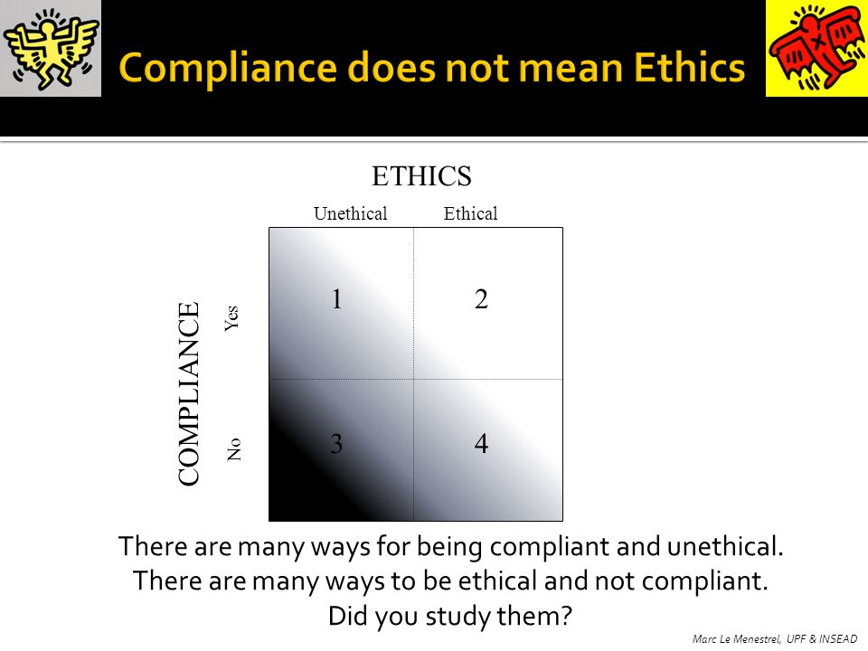 UnethicalEthical Yes No ETHICS COMPLIANCE 12 34 There are many ways for being compliant and unethical.