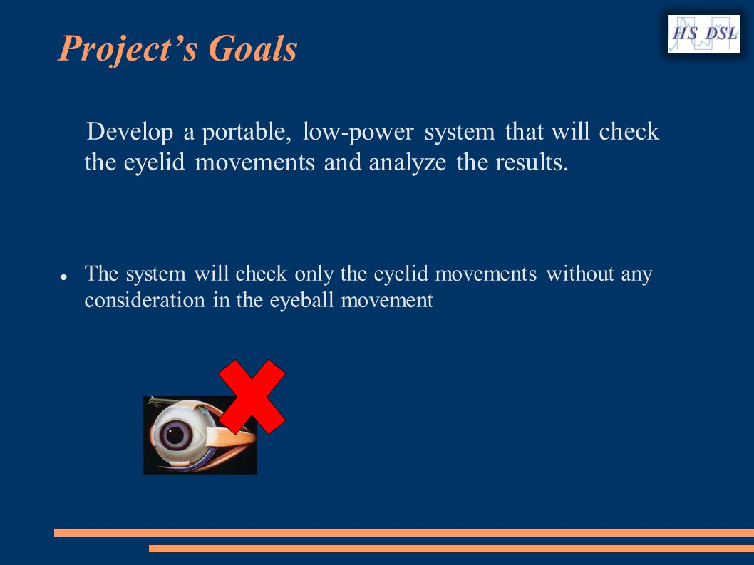 Develop a portable, low-power system that will check the eyelid movements and analyze the results.