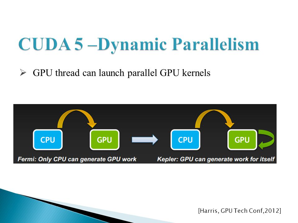 GPU thread can launch parallel GPU kernels [Harris, GPU Tech Conf,2012]