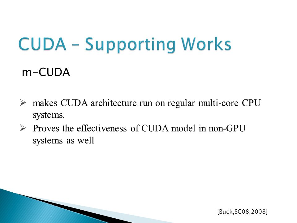 m-CUDA makes CUDA architecture run on regular multi-core CPU systems.