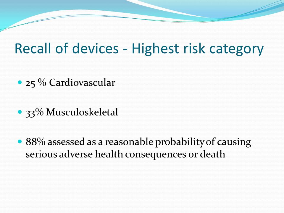 Recall of devices - Highest risk category 25 % Cardiovascular 33% Musculoskeletal 88% assessed as a reasonable probability of causing serious adverse health consequences or death