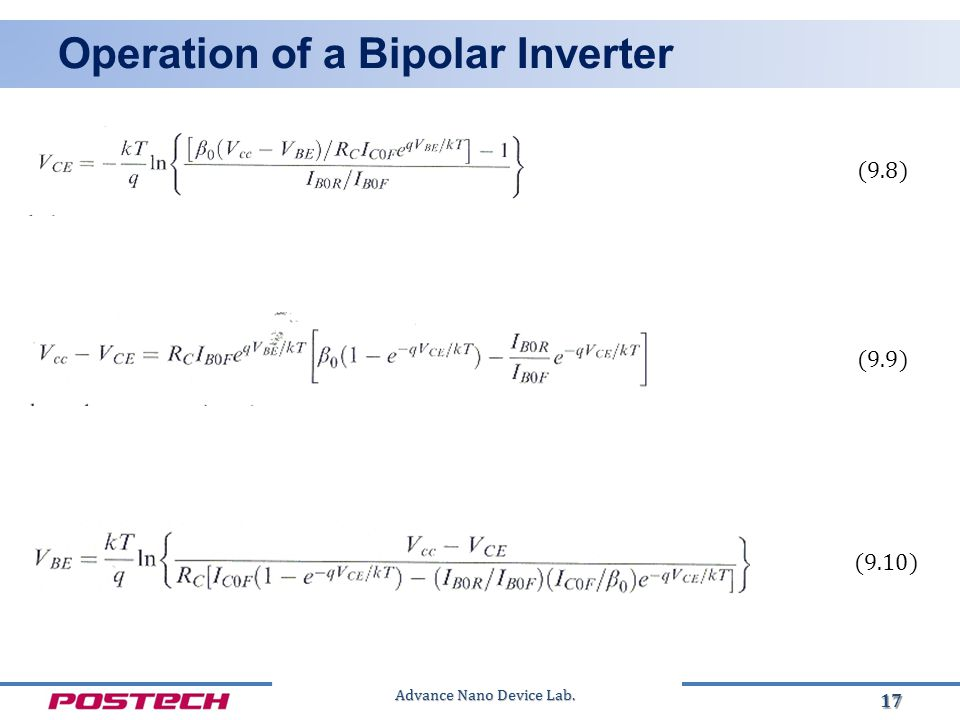 Advance Nano Device Lab. Operation of a Bipolar Inverter 17