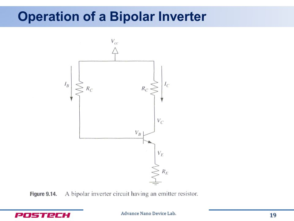 Advance Nano Device Lab. Operation of a Bipolar Inverter 19