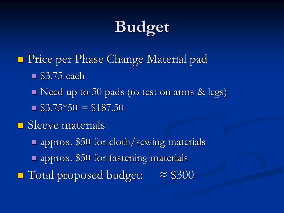 Budget Price per Phase Change Material pad Price per Phase Change Material pad $3.75 each $3.75 each Need up to 50 pads (to test on arms & legs) Need up to 50 pads (to test on arms & legs) $3.75*50 = $187.50 $3.75*50 = $187.50 Sleeve materials Sleeve materials approx.