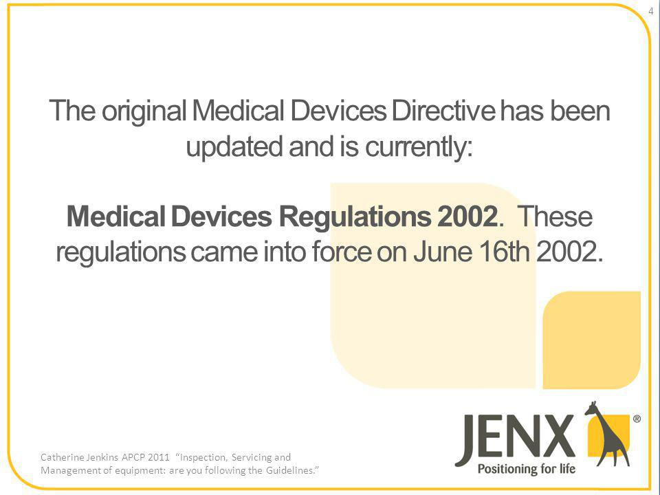 The original Medical Devices Directive has been updated and is currently: Medical Devices Regulations 2002.