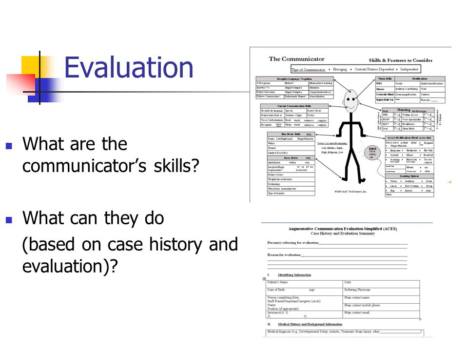 Evaluation What are the communicators skills.
