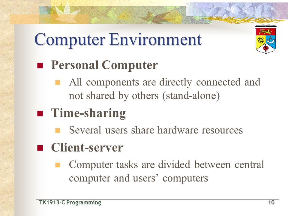 TK1913-C Programming10 TK1913-C Programming 10 Computer Environment Personal Computer All components are directly connected and not shared by others (stand-alone) Time-sharing Several users share hardware resources Client-server Computer tasks are divided between central computer and users computers