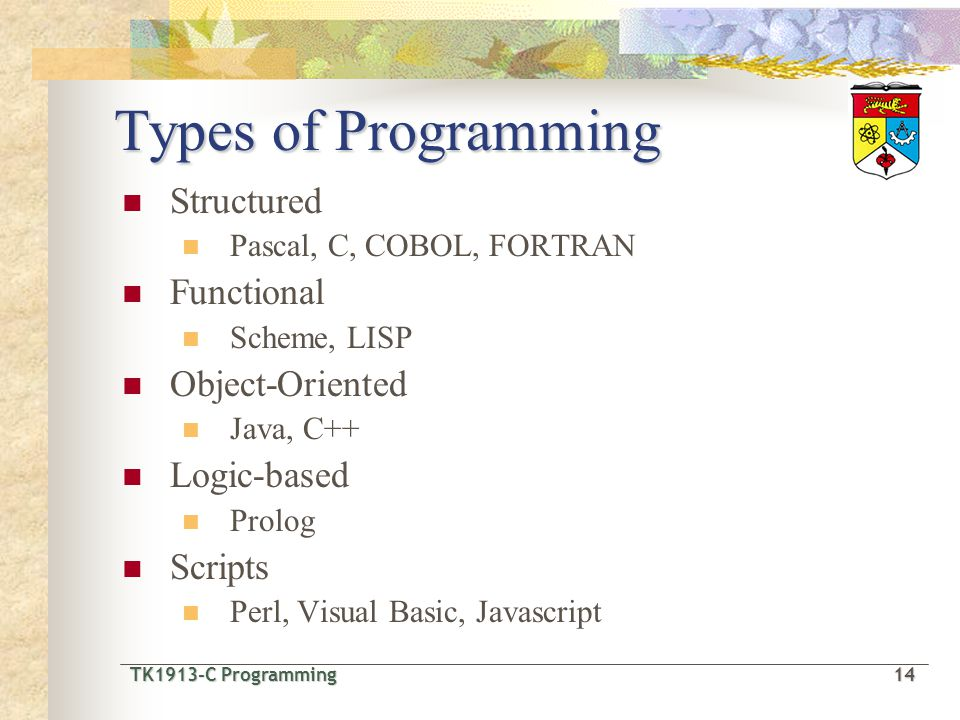 TK1913-C Programming14 TK1913-C Programming 14 Types of Programming Structured Pascal, C, COBOL, FORTRAN Functional Scheme, LISP Object-Oriented Java, C++ Logic-based Prolog Scripts Perl, Visual Basic, Javascript