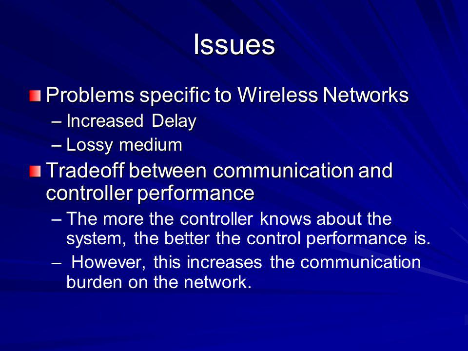 Issues Problems specific to Wireless Networks –Increased Delay –Lossy medium Tradeoff between communication and controller performance – –The more the controller knows about the system, the better the control performance is.