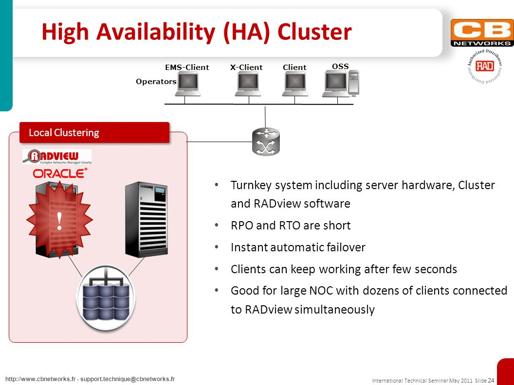 International Technical Seminar May 2011 Slide 24 http://www.cbnetworks.fr - support.technique@cbnetworks.fr High Availability (HA) Cluster .
