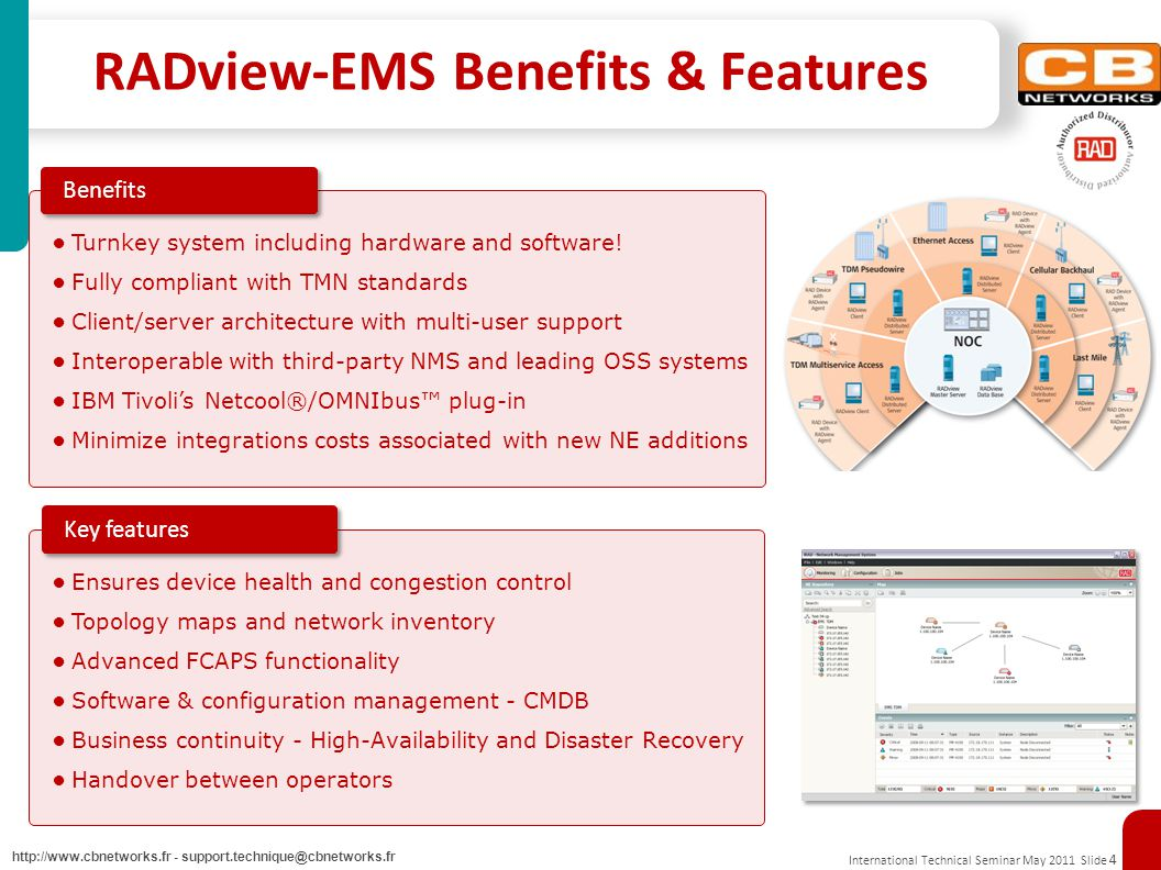 International Technical Seminar May 2011 Slide 4 http://www.cbnetworks.fr - support.technique@cbnetworks.fr RADview-EMS Benefits & Features Turnkey system including hardware and software.