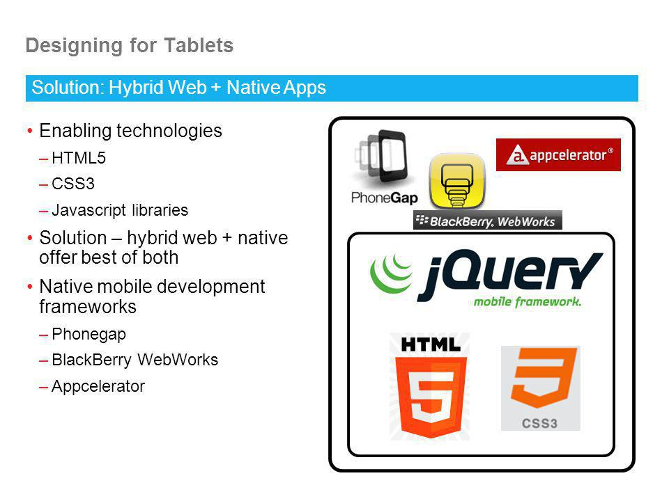 Designing for Tablets Enabling technologies –HTML5 –CSS3 –Javascript libraries Solution – hybrid web + native offer best of both Native mobile development frameworks –Phonegap –BlackBerry WebWorks –Appcelerator Solution: Hybrid Web + Native Apps