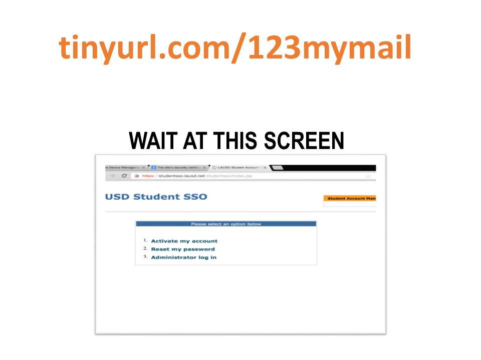 WAIT AT THIS SCREEN tinyurl.com/123mymail