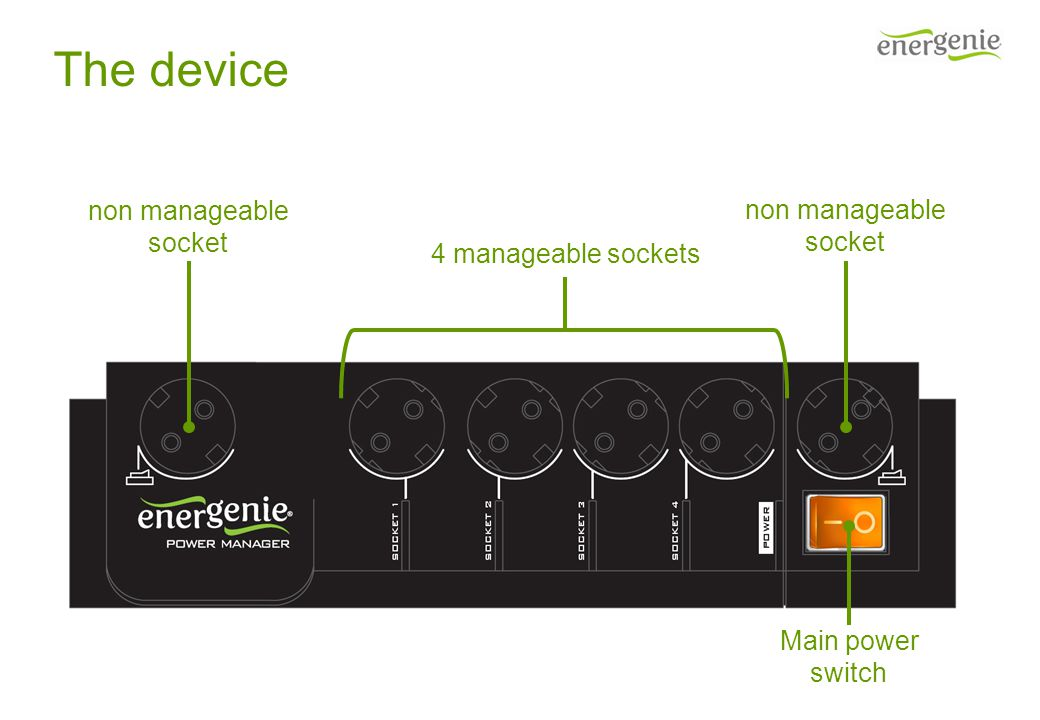 The device 4 manageable sockets non manageable socket non manageable socket Main power switch
