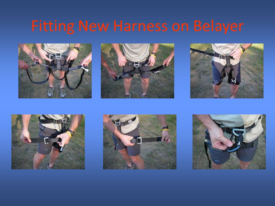 Fitting New Harness on Belayer