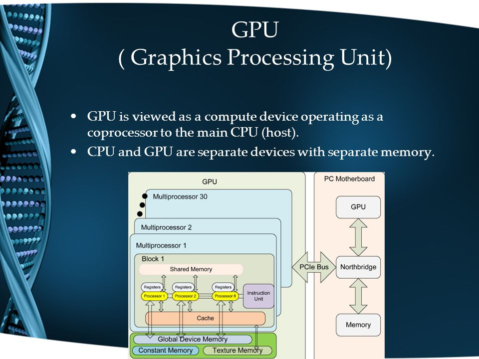 GPU ( Graphics Processing Unit) GPU is viewed as a compute device operating as a coprocessor to the main CPU (host).