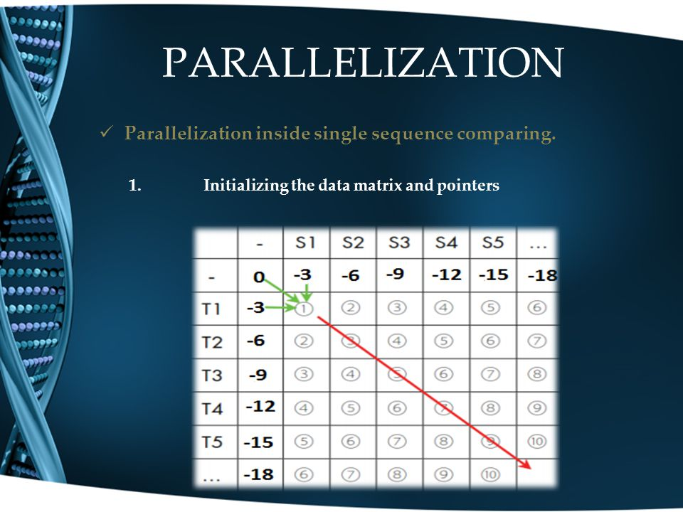 PARALLELIZATION Parallelization inside single sequence comparing.