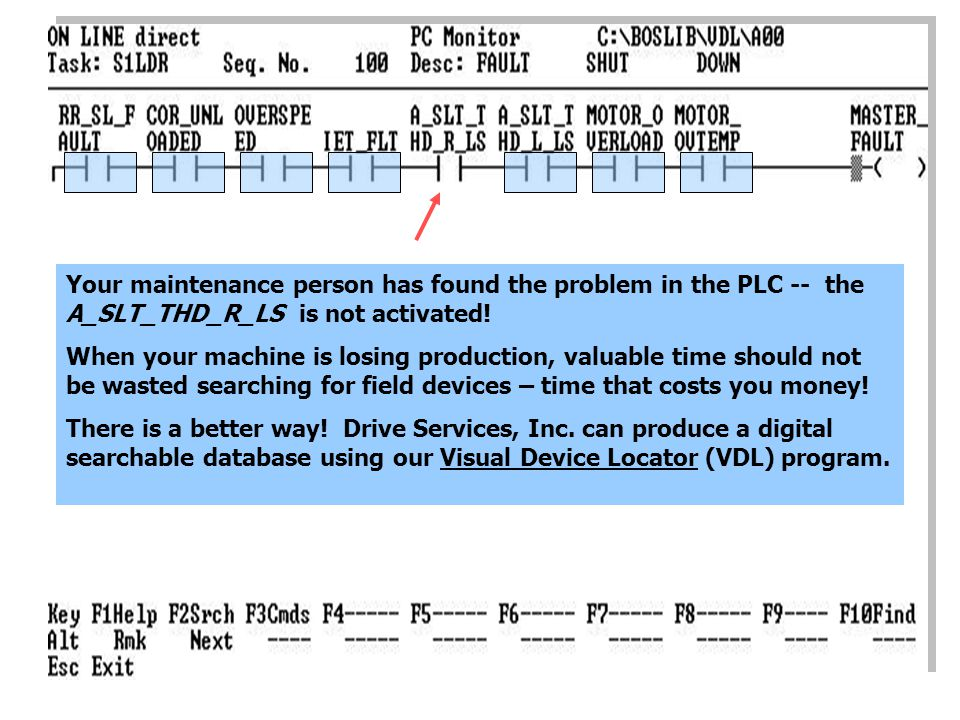 Your maintenance person has found the problem in the PLC -- the A_SLT_THD_R_LS is not activated.