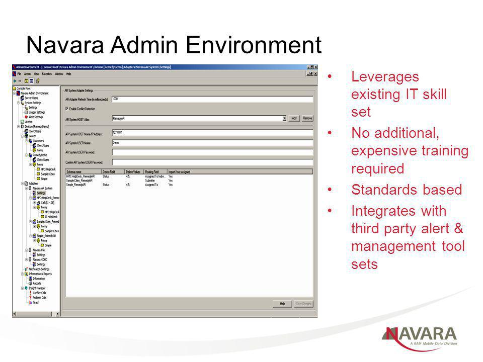 Navara Admin Environment Leverages existing IT skill set No additional, expensive training required Standards based Integrates with third party alert & management tool sets