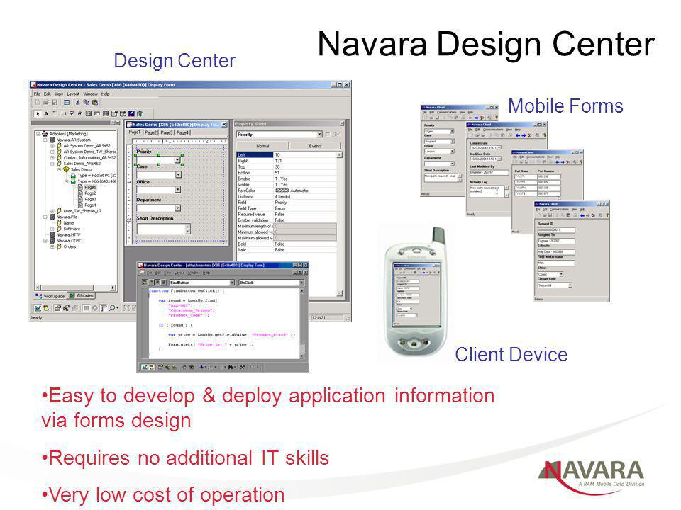 Navara Design Center Design Center Mobile Forms Client Device Easy to develop & deploy application information via forms design Requires no additional IT skills Very low cost of operation
