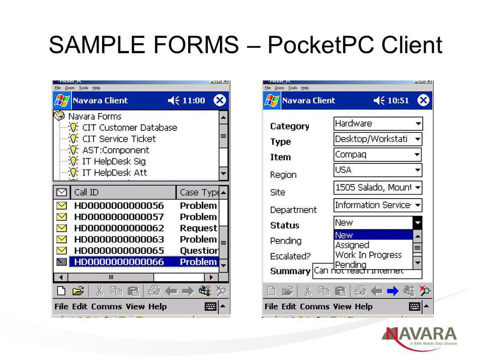 SAMPLE FORMS – PocketPC Client