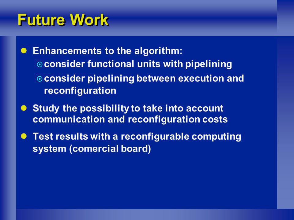 Future Work Enhancements to the algorithm: consider functional units with pipelining consider pipelining between execution and reconfiguration Study the possibility to take into account communication and reconfiguration costs Test results with a reconfigurable computing system (comercial board)