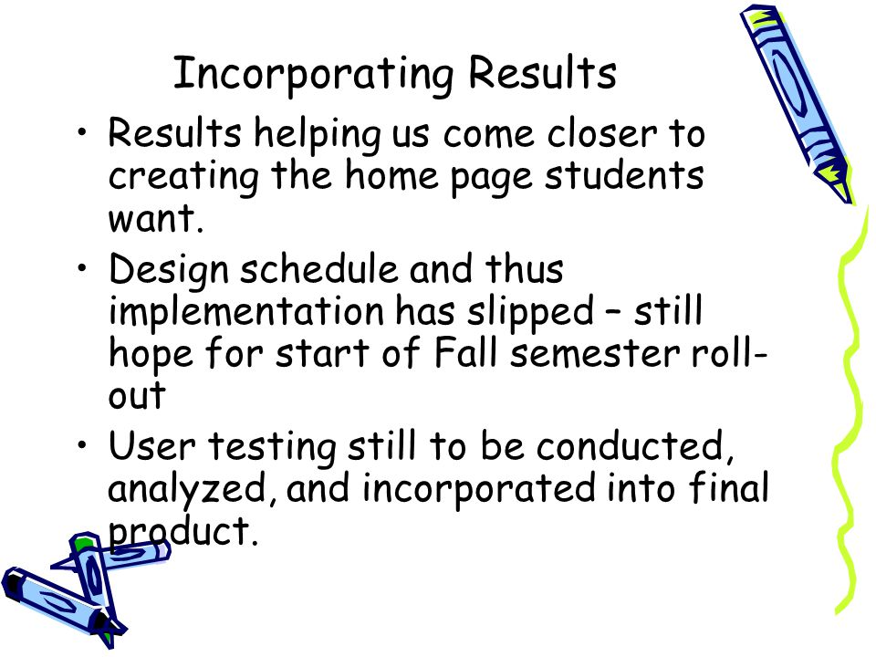 Incorporating Results Results helping us come closer to creating the home page students want.