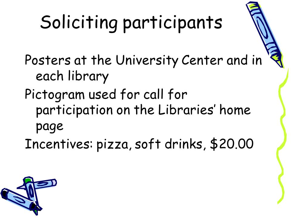 Soliciting participants Posters at the University Center and in each library Pictogram used for call for participation on the Libraries home page Incentives: pizza, soft drinks, $20.00