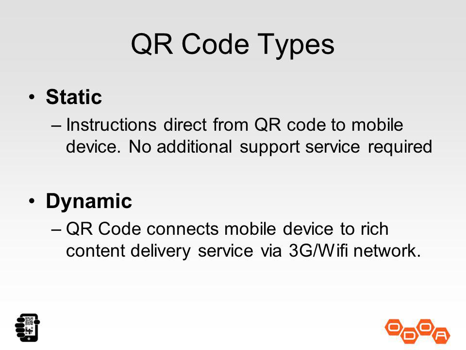 QR Code Types Static –Instructions direct from QR code to mobile device.