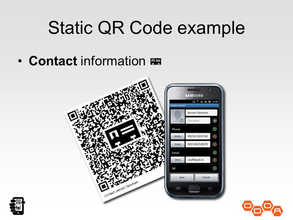 Static QR Code example Contact information
